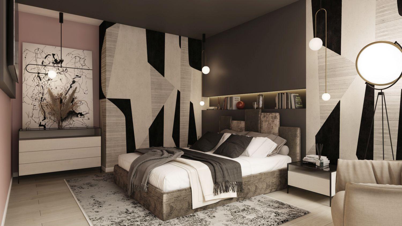 amenajare dormitor alb negru