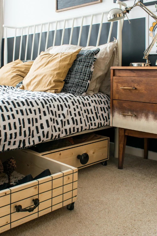 idei dormitoare mici depozitare pat