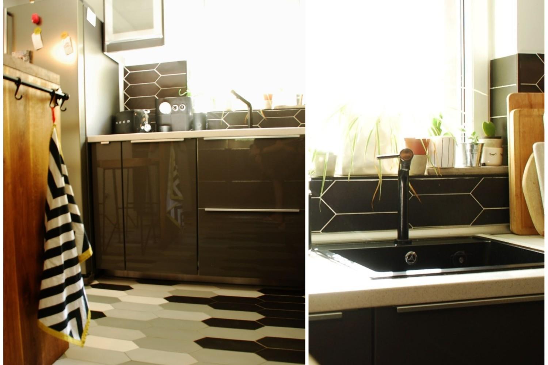 Mobilier bucătărie gri lucios faianță hexagonală