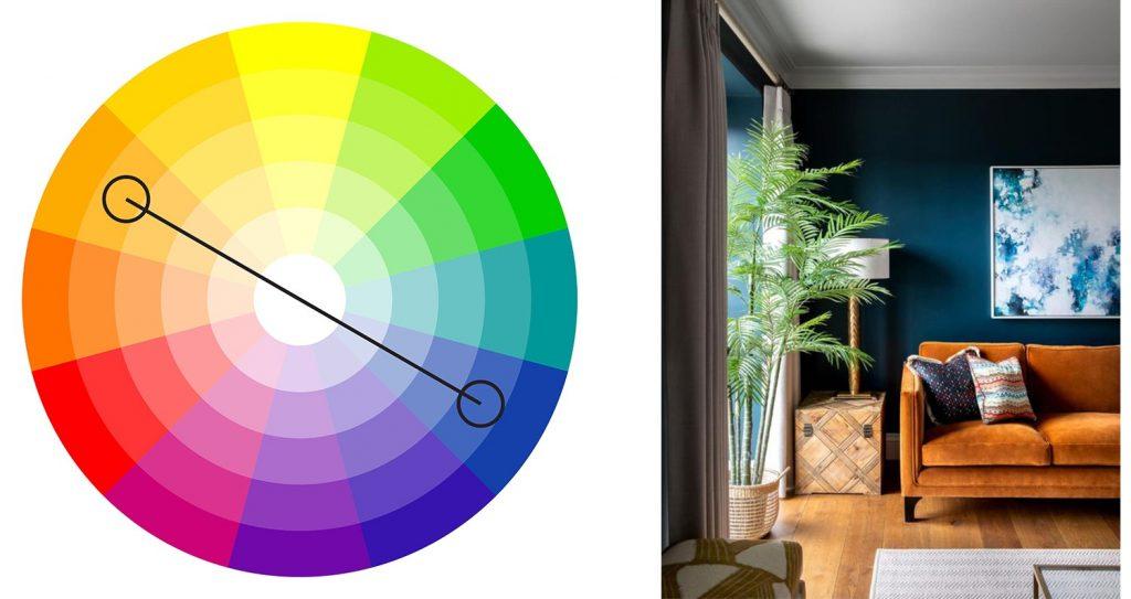 alegerea culorilor potrivite - albastru - oranj