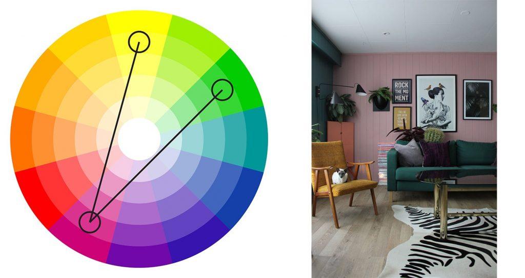 alegerea culorilor potrivite - culori complementar divizate
