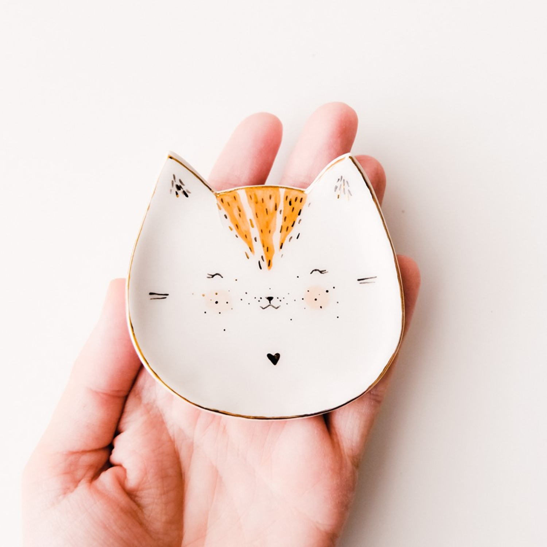Farfurioară de porțelan în formă de pisică Made by Mura