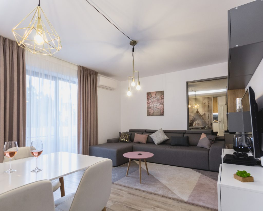 amenajare open space Living cu canapea gri