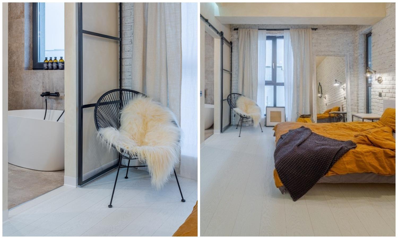 Amenajare dormitor parchet alb cărămidă aparentă
