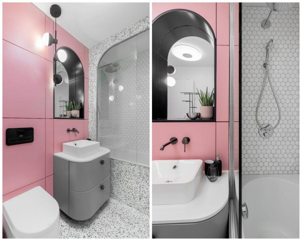 Baie roz cu terazzo Andra Bica Kanso Design