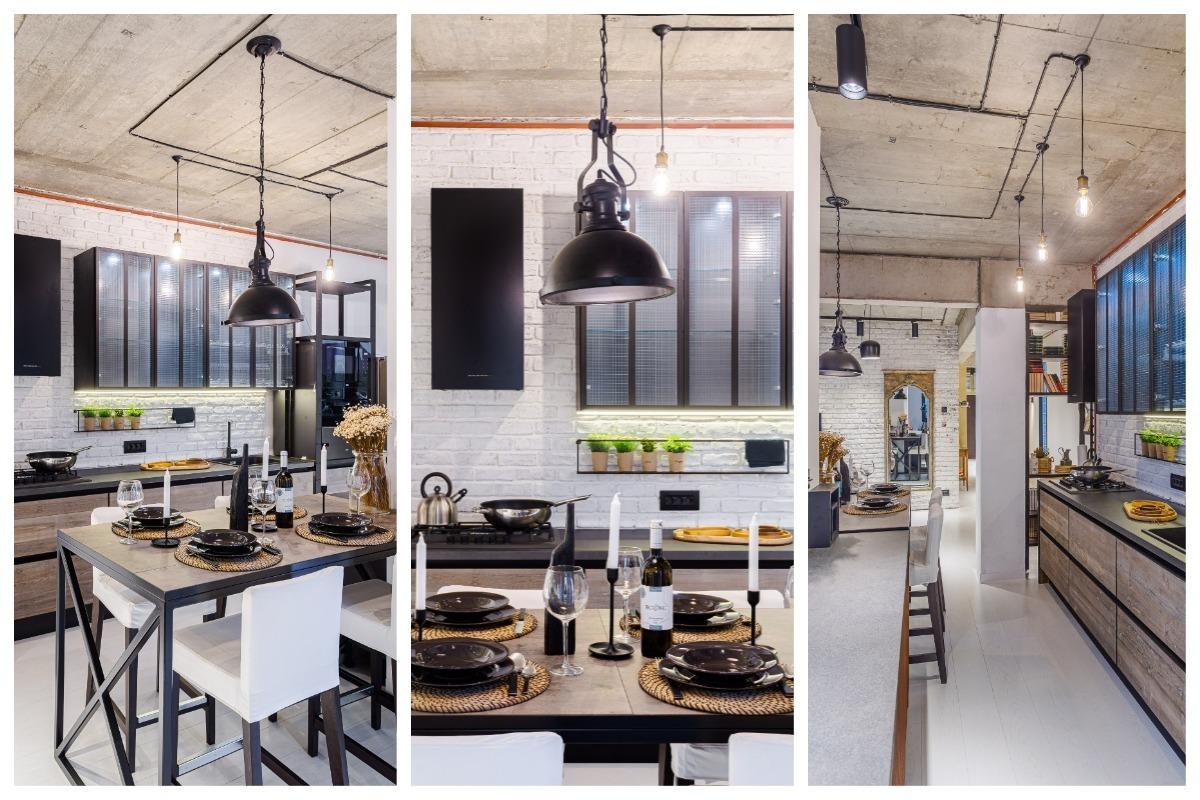 Bucătărie în stil industrial cu insulă arh. Cristina Golban Delta Studio Design