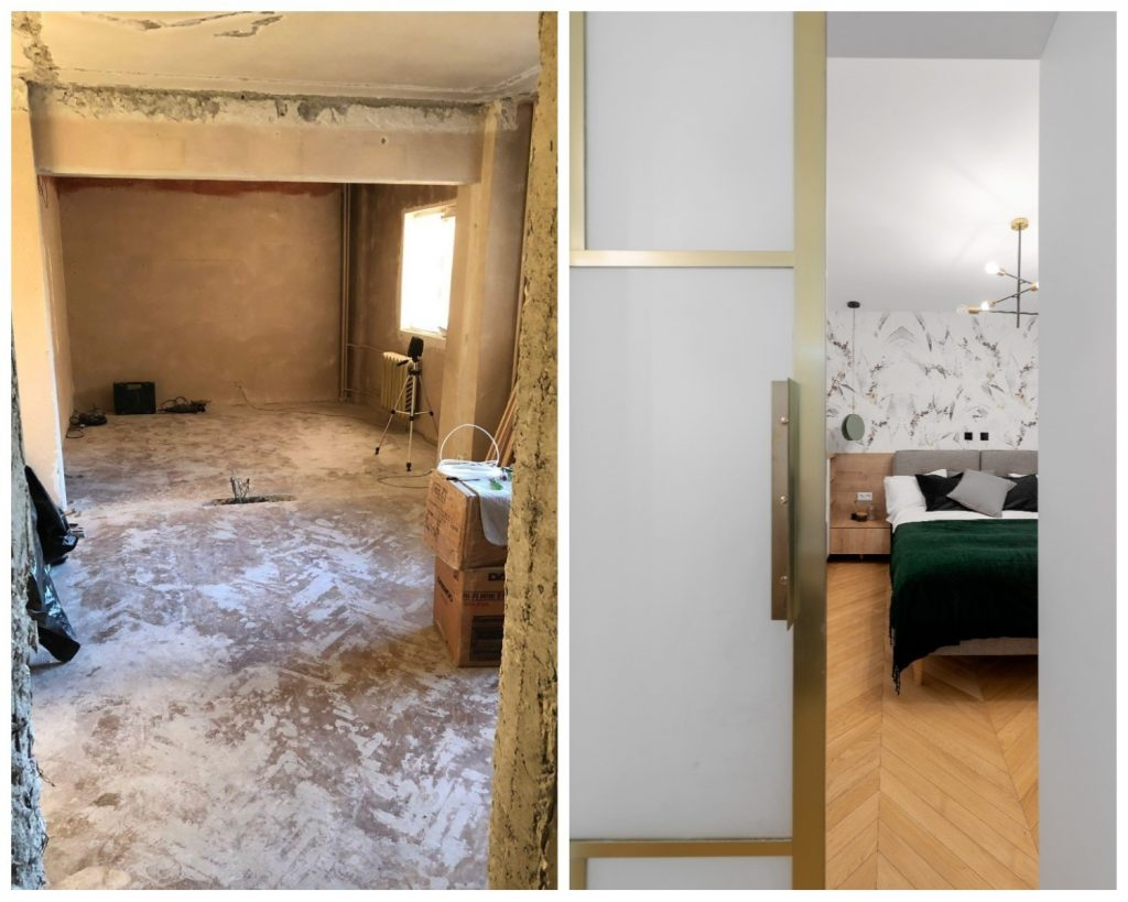 Dormitor-living before and after