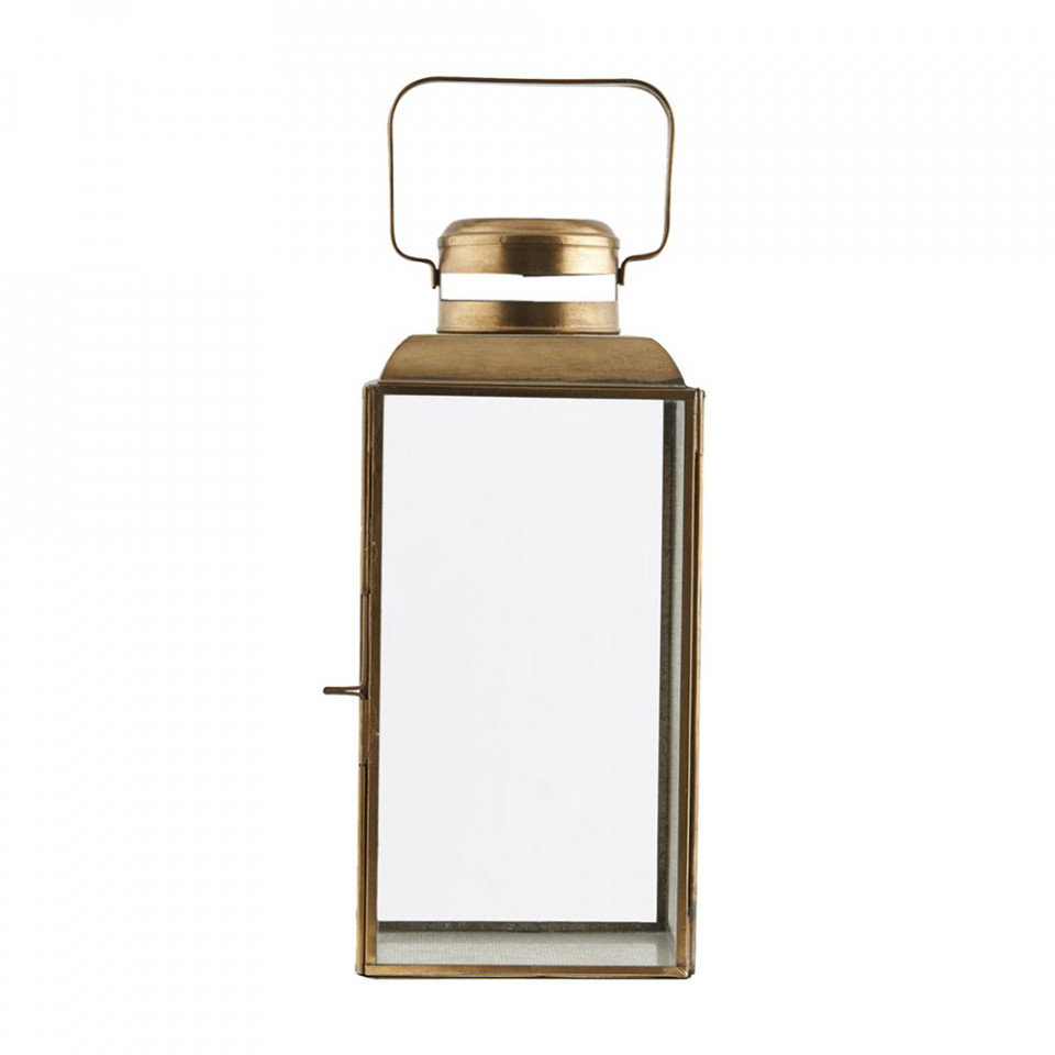Felinar auriu din alama si sticla Vintage Small House Doctor