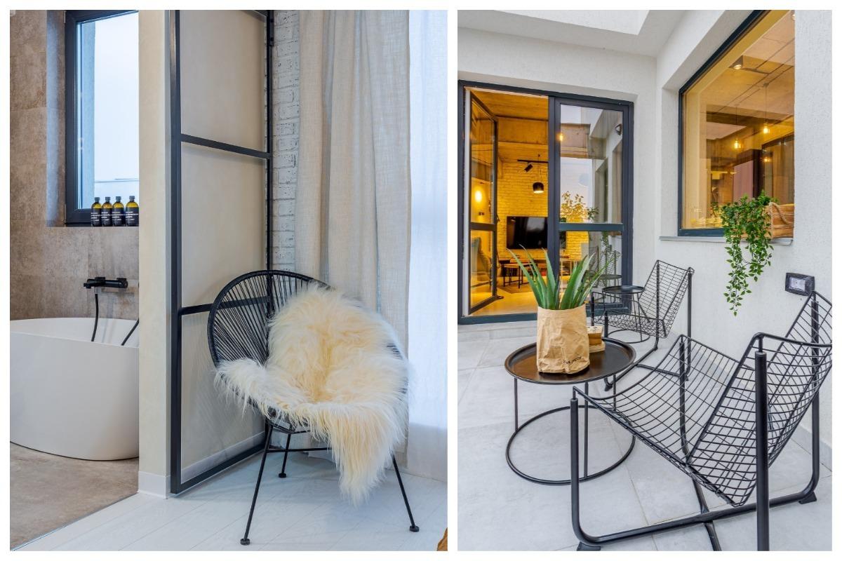 Scaune metalice în dormitor și pe terasă