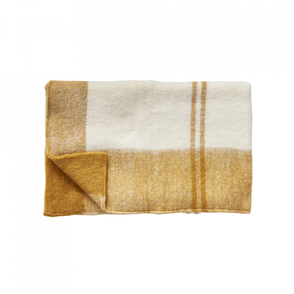 pled-din-fibre-acrilice-140x200-cm-judith-mustard-off-white-hubsch- the home