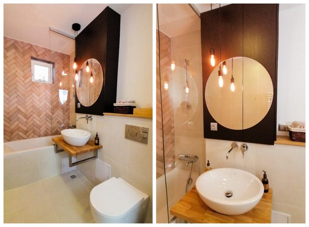Amenajare baie cu alb si roz Cluj Pibo Projects