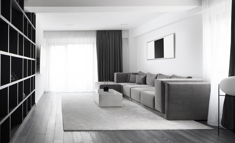 Amenajare living alb negru apartament Craiova Blanc Architecture
