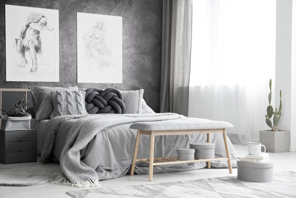 patul pentru dormitor gri