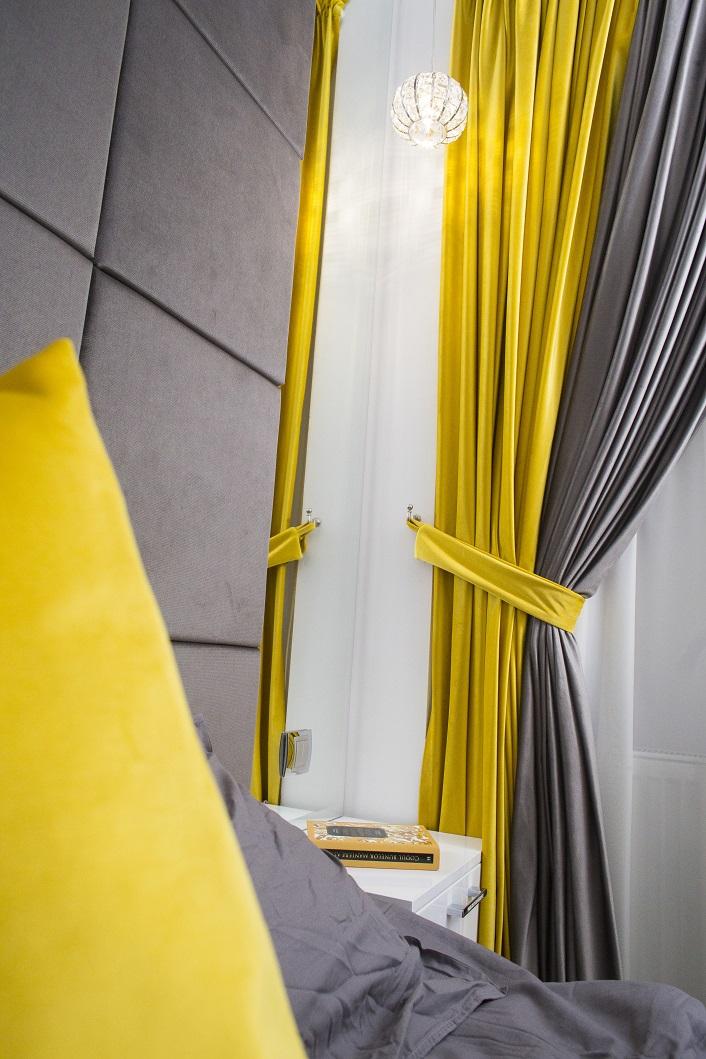 Amenajare dormitor galben si gri Iasi designer de interior Simona Tudorachi - Evia mic