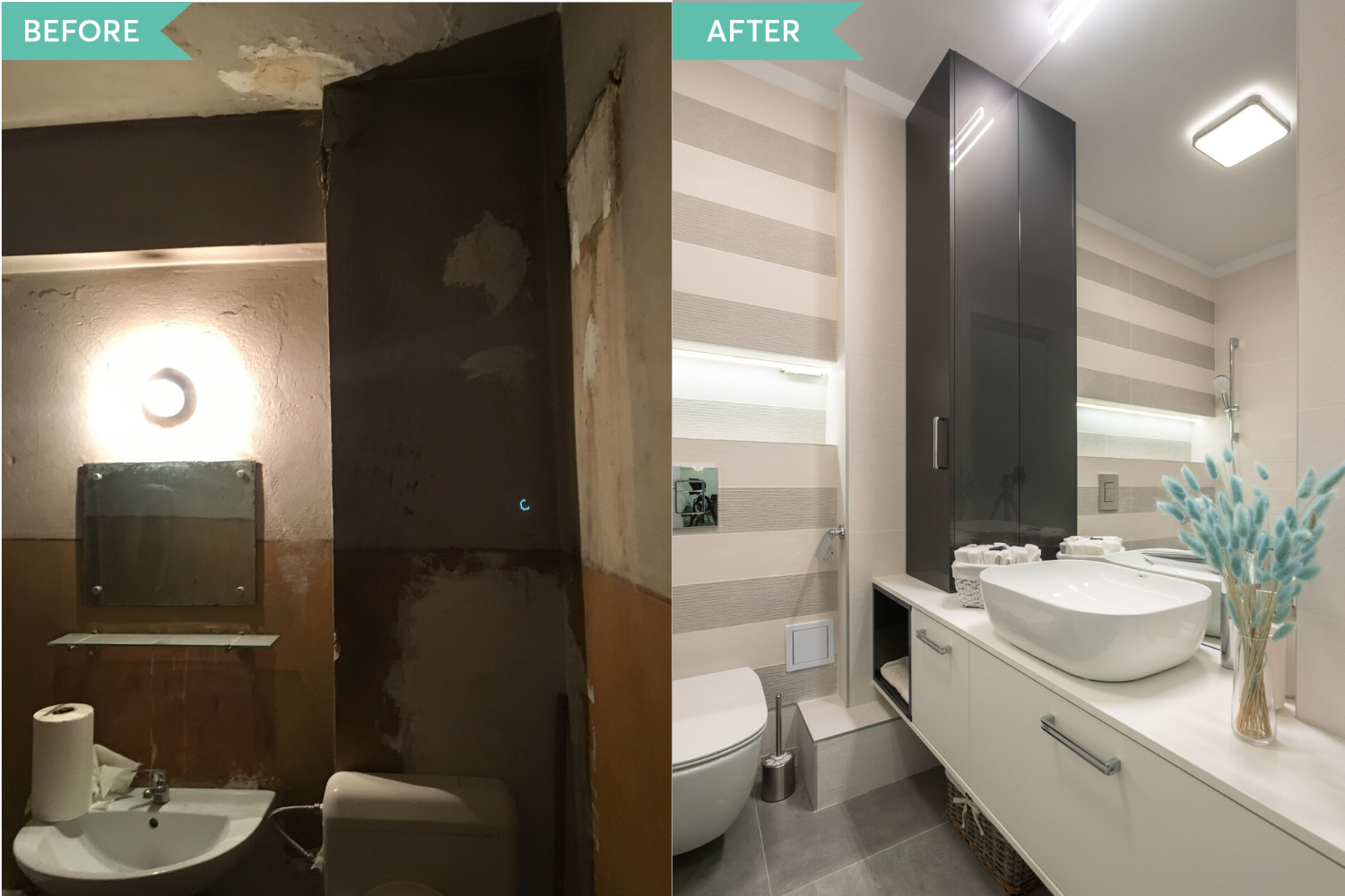 Renovare baie apartament vechi - before and after - arh. Cristiana Zgripcea