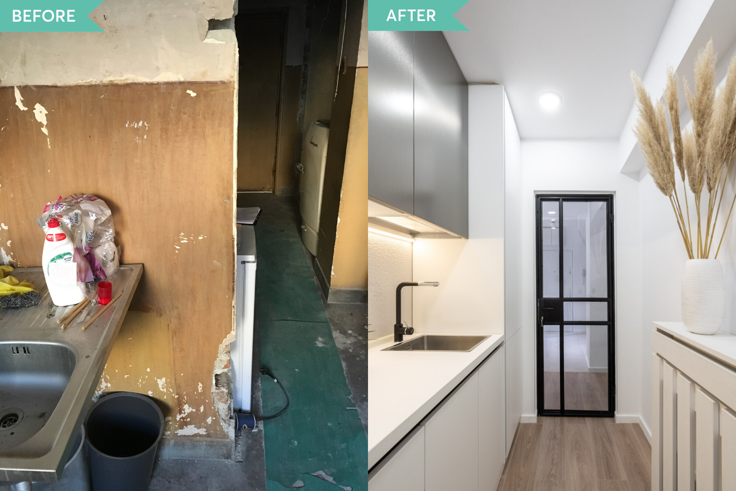 Renovare bucatarie apartament vechi - before and after - arh. Cristiana Zgripcea (1)
