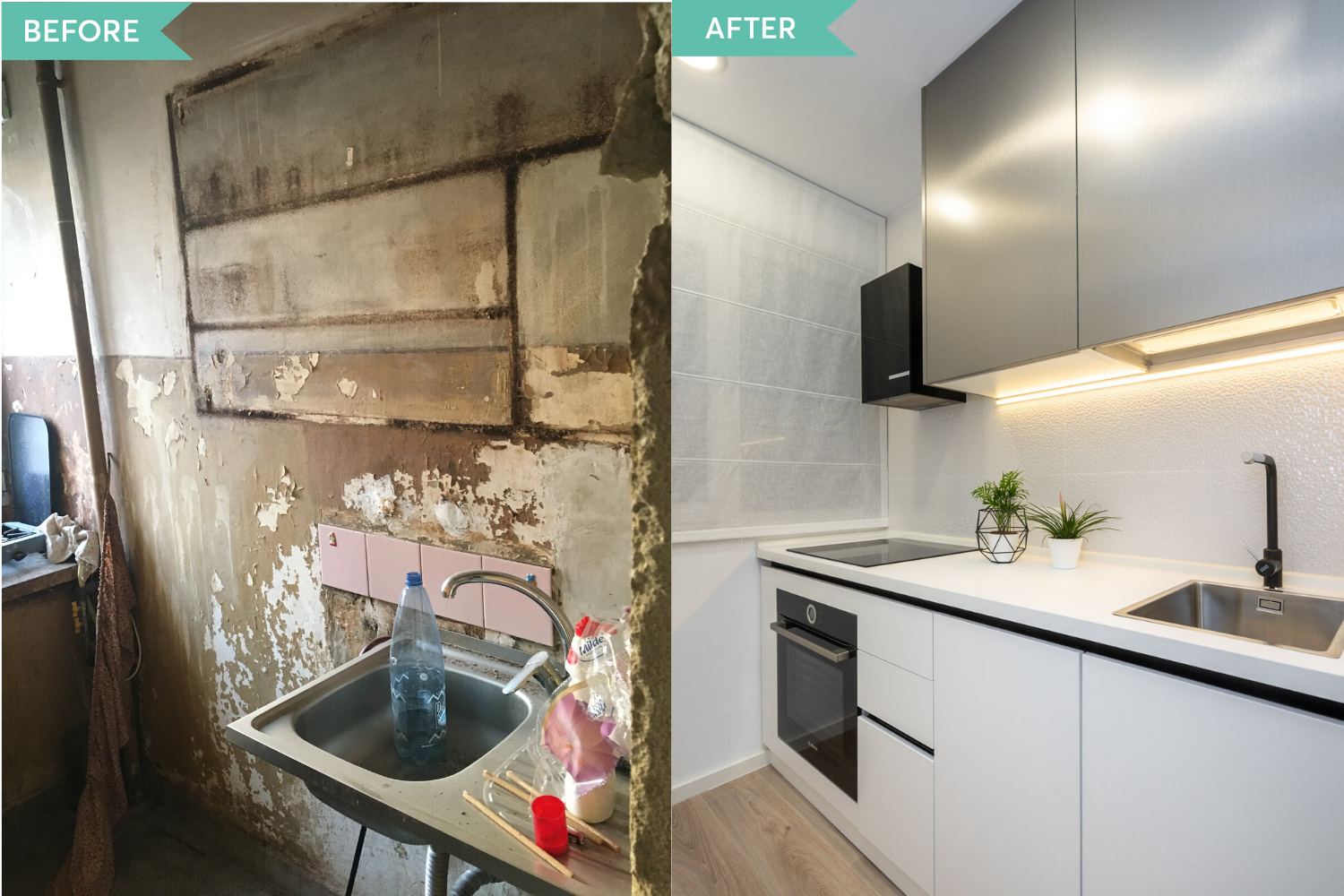 Renovare bucatarie apartament vechi - before and after - arh. Cristiana Zgripcea