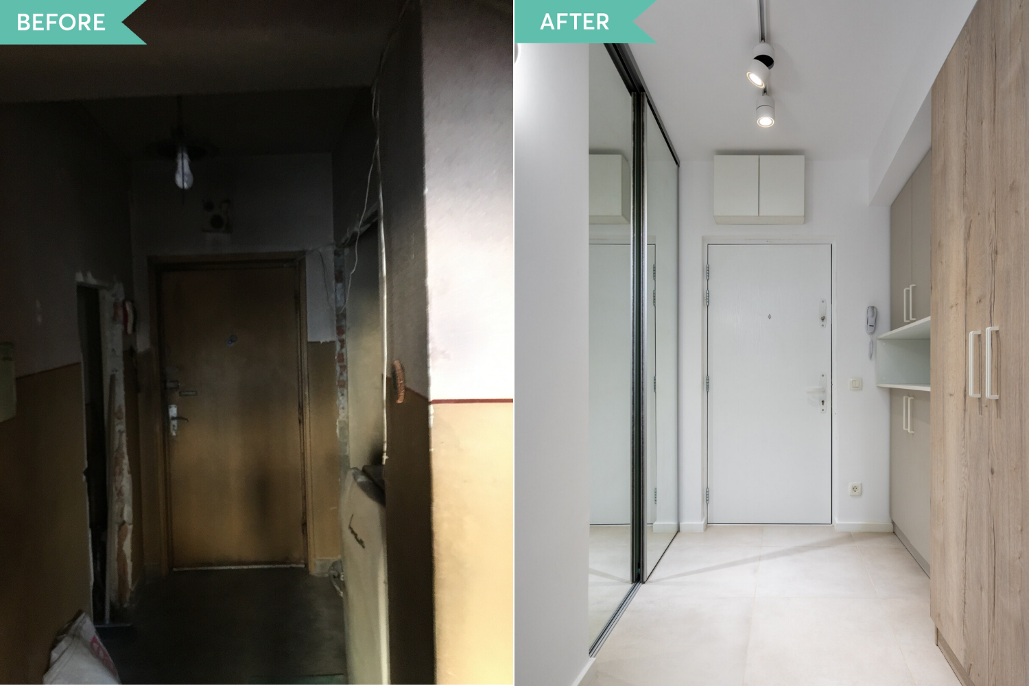 Renovare hol apartament vechi - before and after - arh. Cristiana Zgripcea