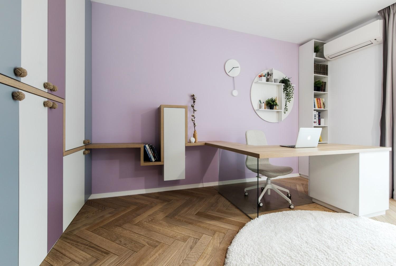 Amenajare dormitor copil fetita roz pasari nori_Studio 2