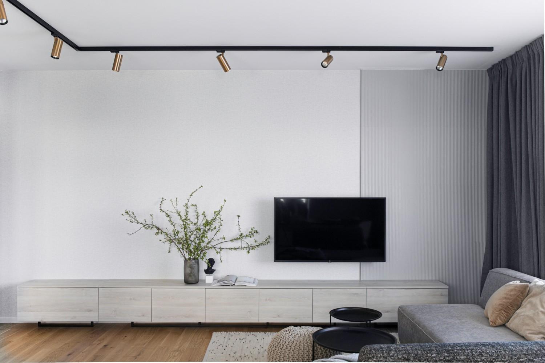 Amenajare living cu canapea gri - Yoka Design - Bucuresti