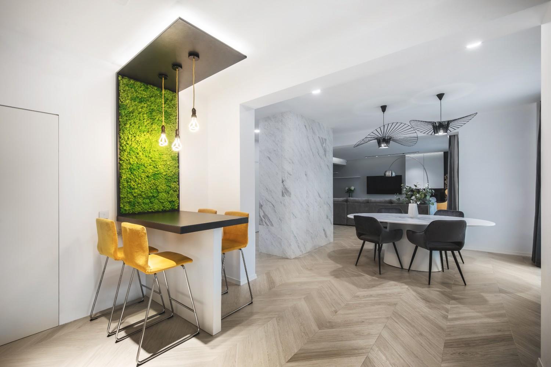 Amenajare open space duplex modern_bar cu mushci verde_Studio2.1 Bucuresti