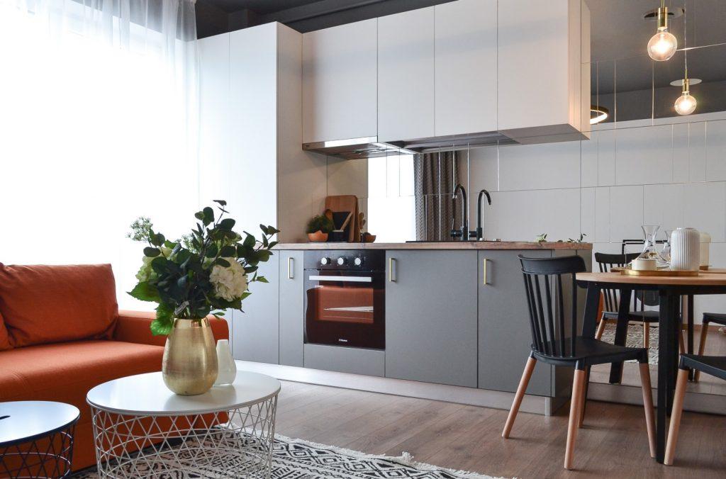 Living open space cu bucatarie alba placata cu oglinzi. Loc de luat masa - arh. Andra Bica Kanso Design (1)