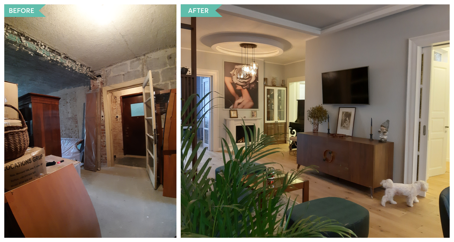 Before and after în living-lobby