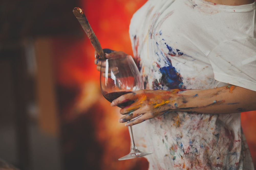 Vara acasă pictură și vin