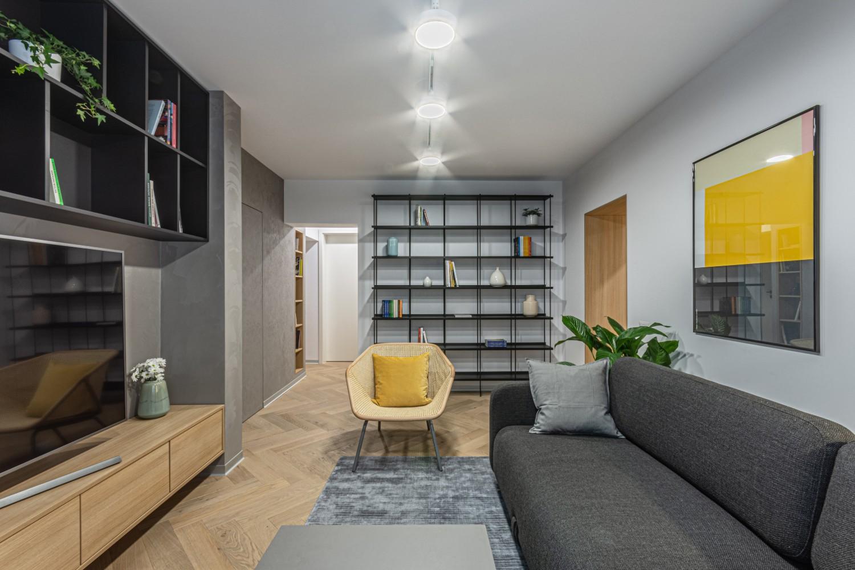 Amenajare living cu perete stil ciment - Craft (2)