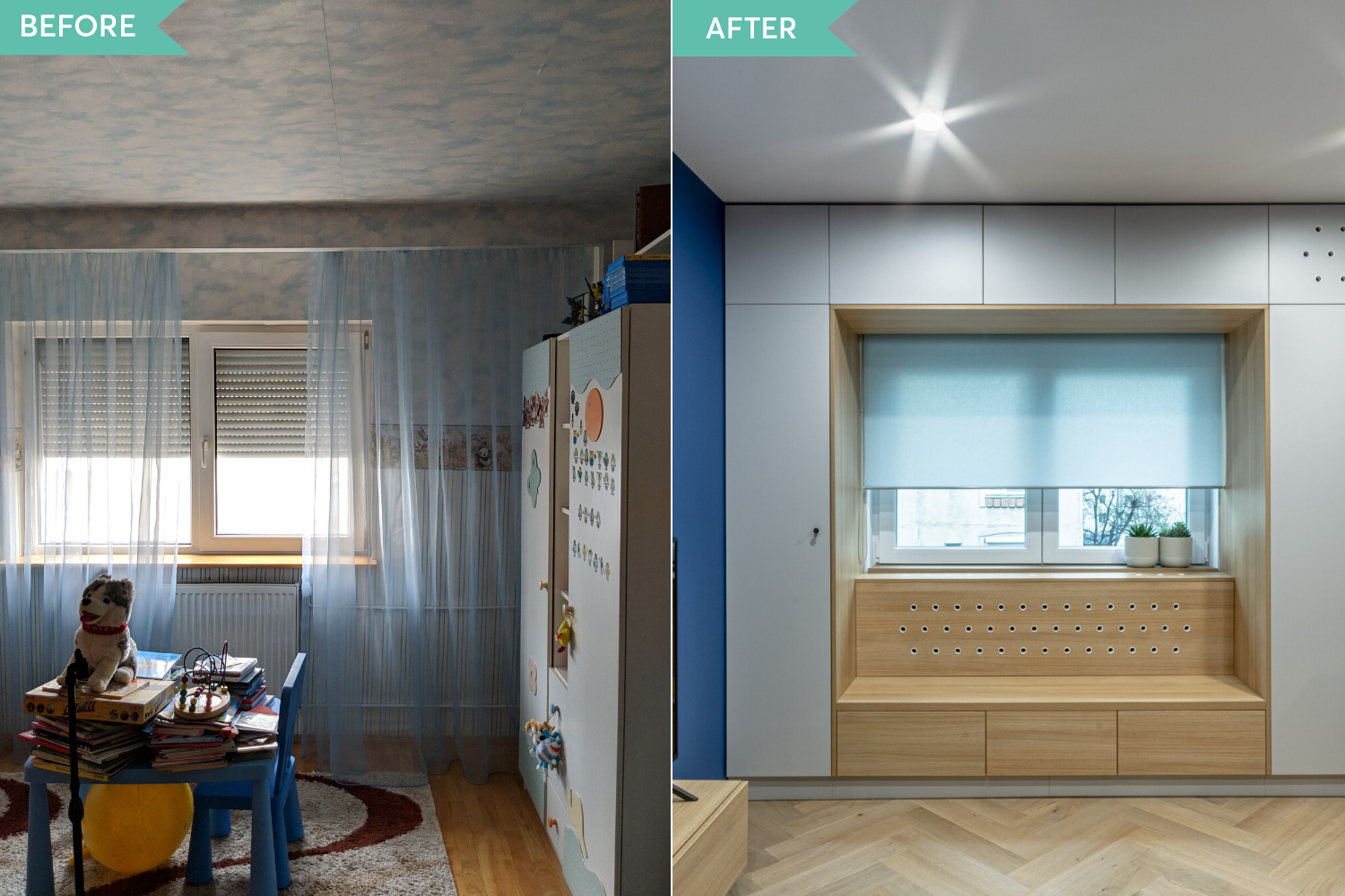 Before and after - amenajare camera copil cu perete albastru si window seat - Craftr (1)