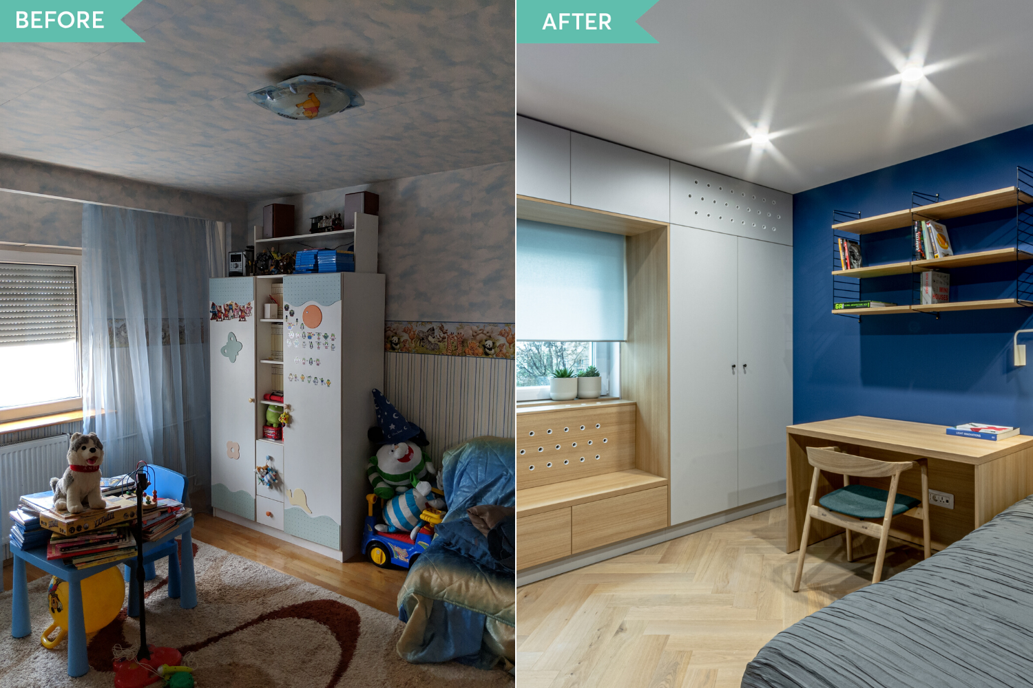 Before and after - amenajare camera copil cu perete albastru si window seat - Craftr (2)