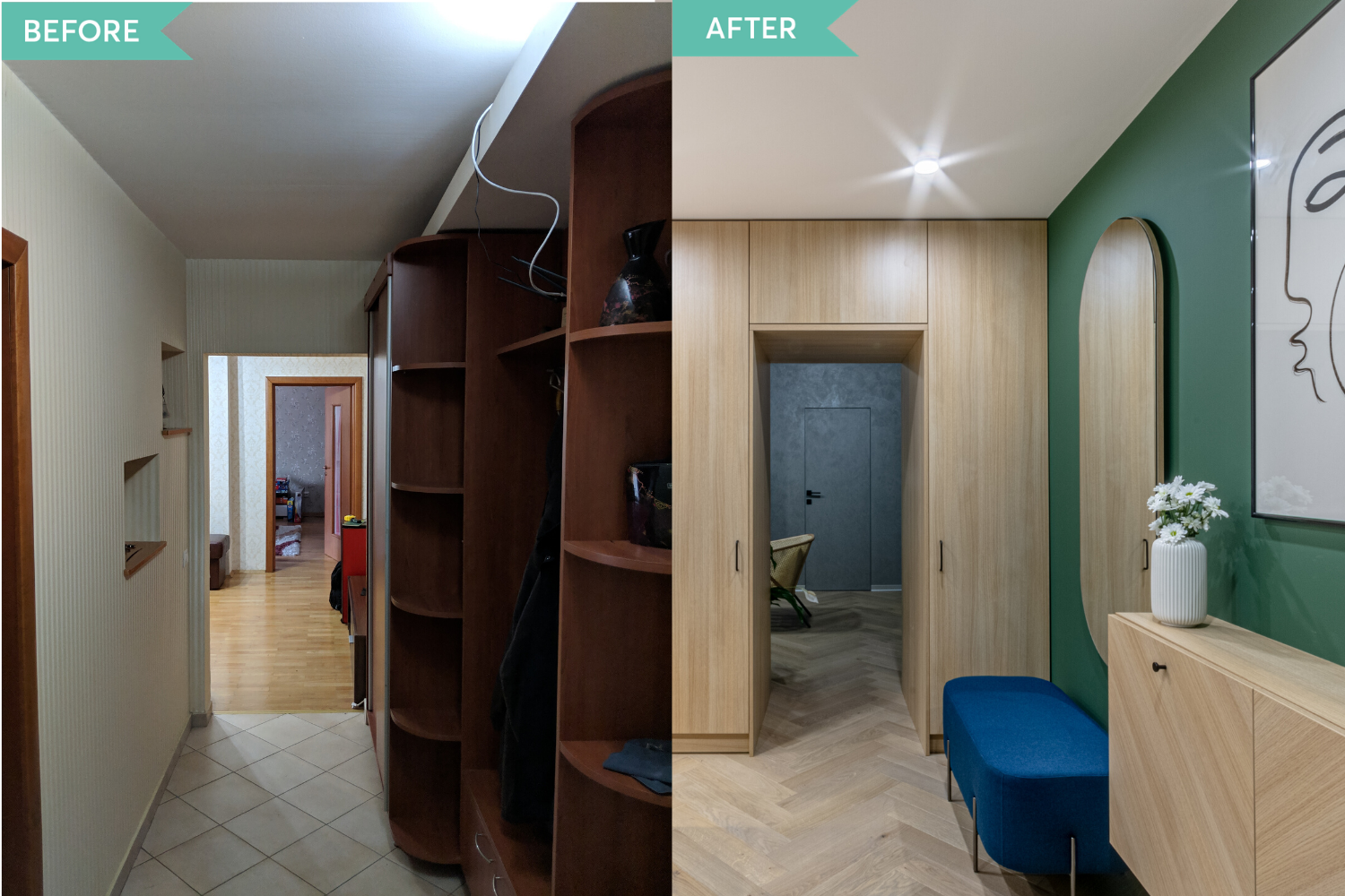 Before and after - amenajare hol si living in stil contemporan - Craftr