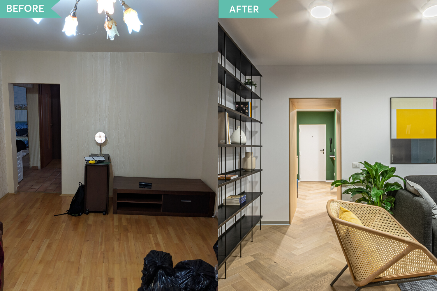 Before and after - amenajare hol si living in stil contemporan - Craftr (2)