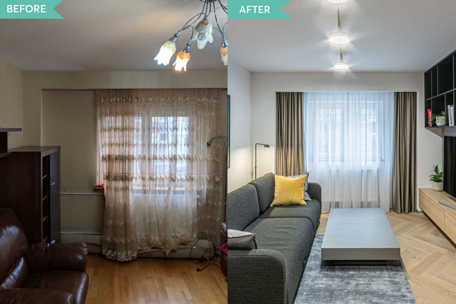 Before and after - amenajare living in stil contemporan - Craftr (2)