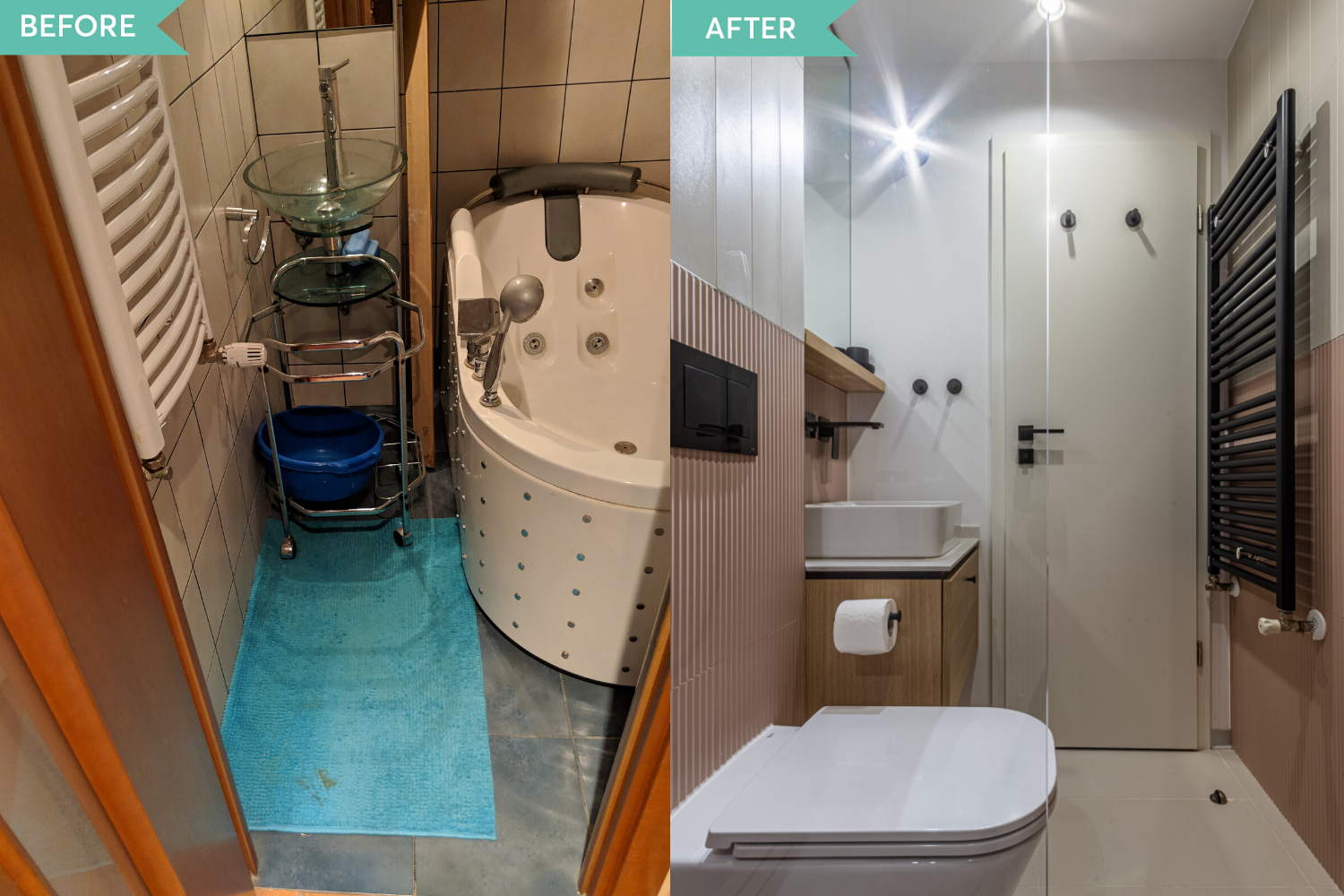 Before and after - renovare baie roz apartament comunist- Craftr (1)