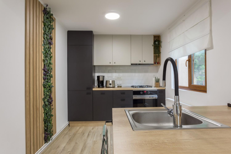 Zen Casa Comarnic - bucatarie cu insula riflaj perete mușchi verde