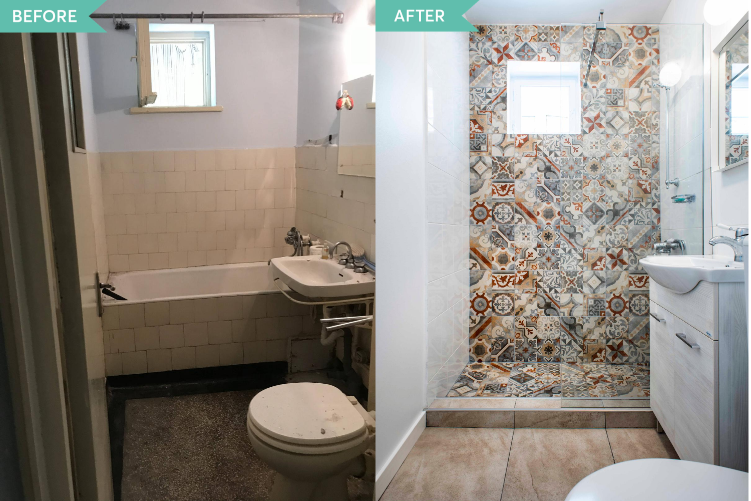 Before and After baie faianta patchwork apartament Militari - Diez Office