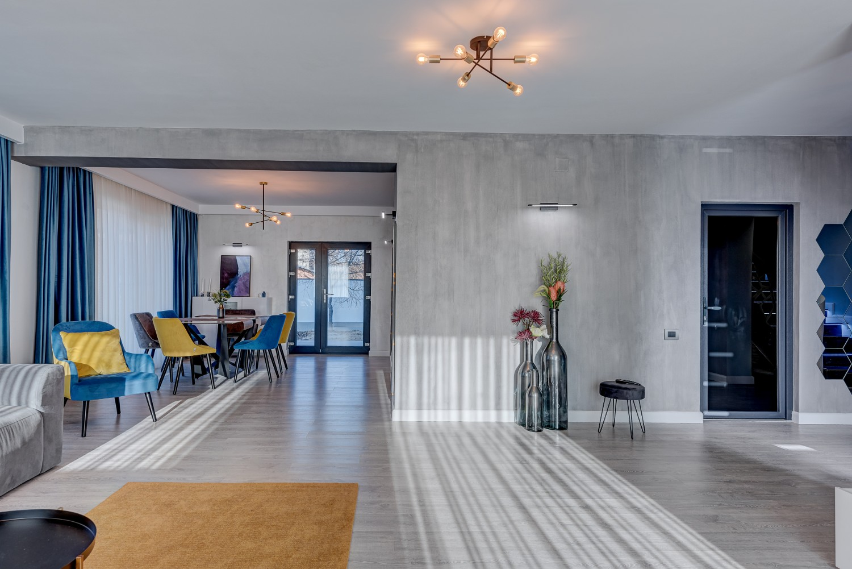 Living modern vila Klimt Targu Jiu - designer Camelia Radu - mobilier modern canapea gri vopsea decorativa gri accente de galben si albastru (4)