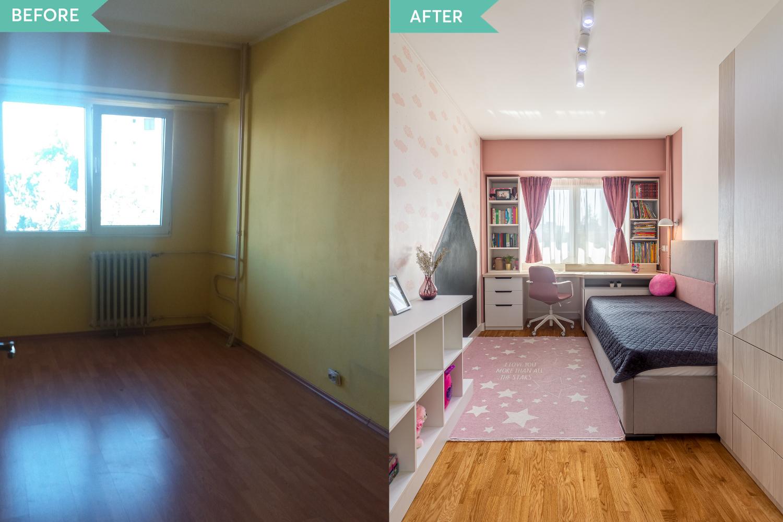 Amenajare Drumul Taberei - before and after - arh. int. Cristina Micu - dormitor fetita