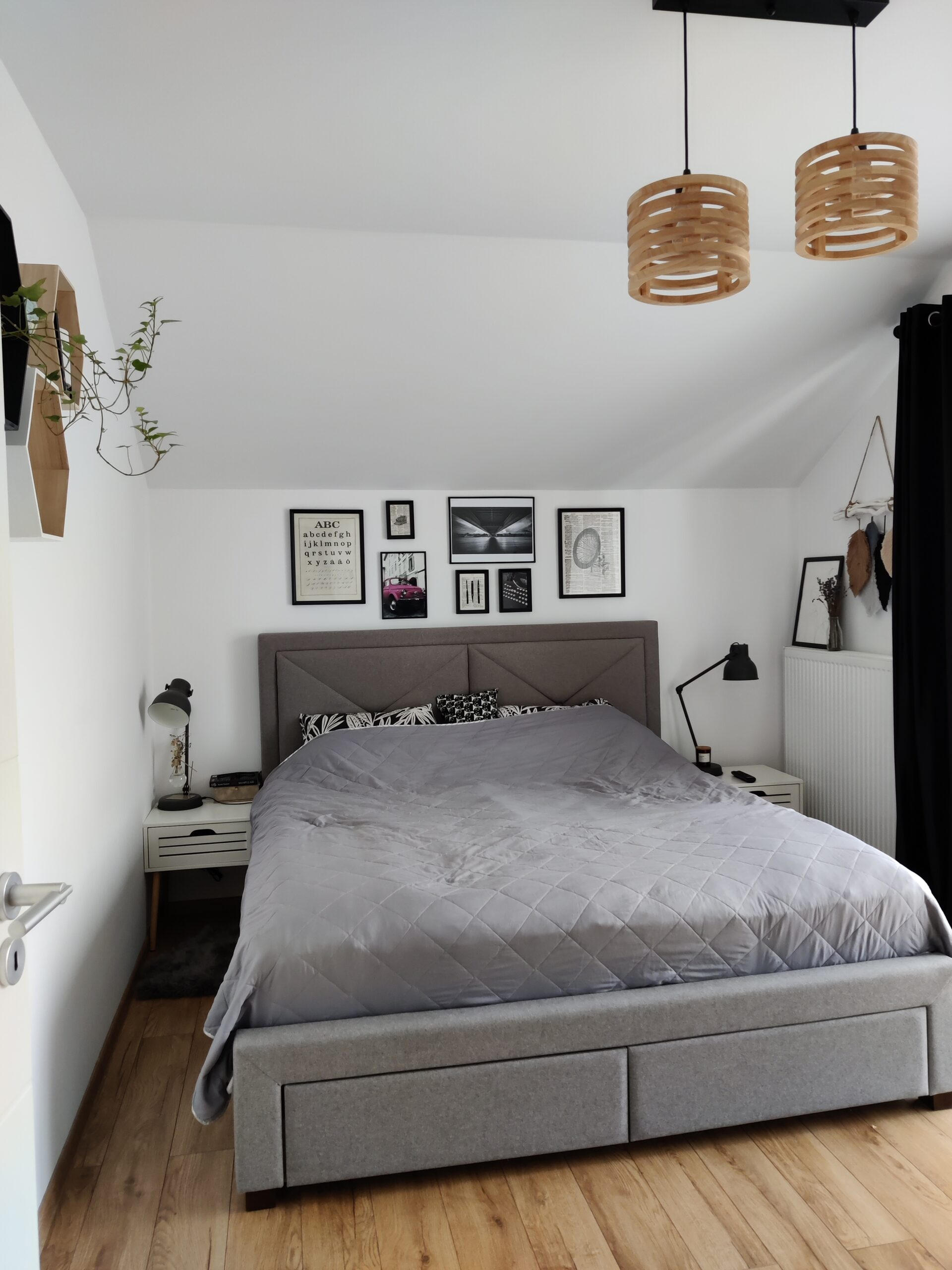 dormitor alb negru gri
