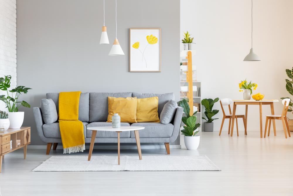 mobilier galben/gri