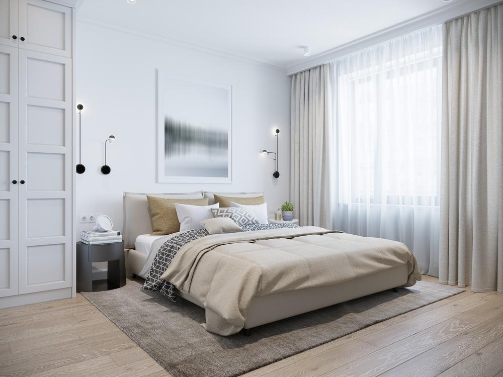 dormitor cu dulap închis