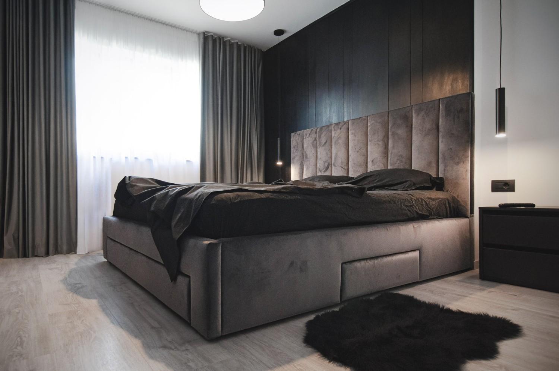 culoarea negru Dormitorul minimalist negru - amenajare casă Iași - decor negru modern (2)