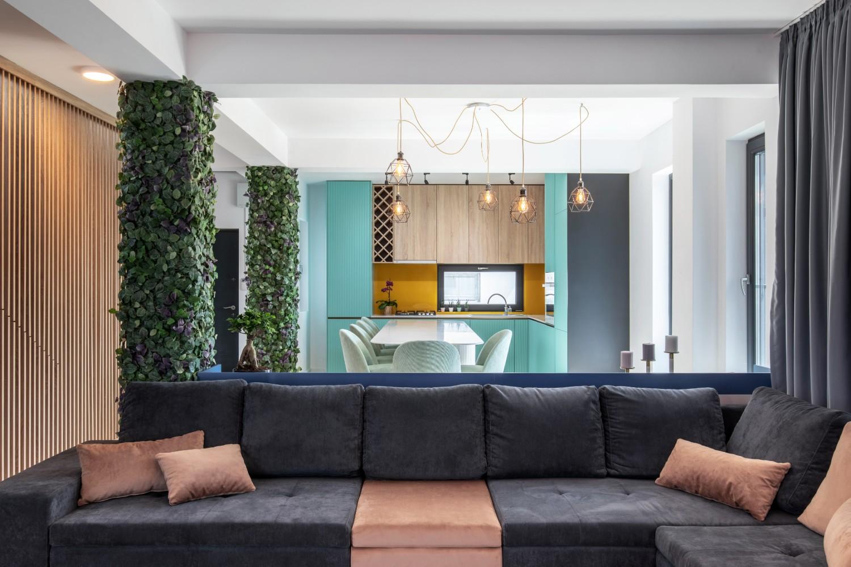 Living open space - bucatarie cu mobilier turcoaz si galben - AITO (1)