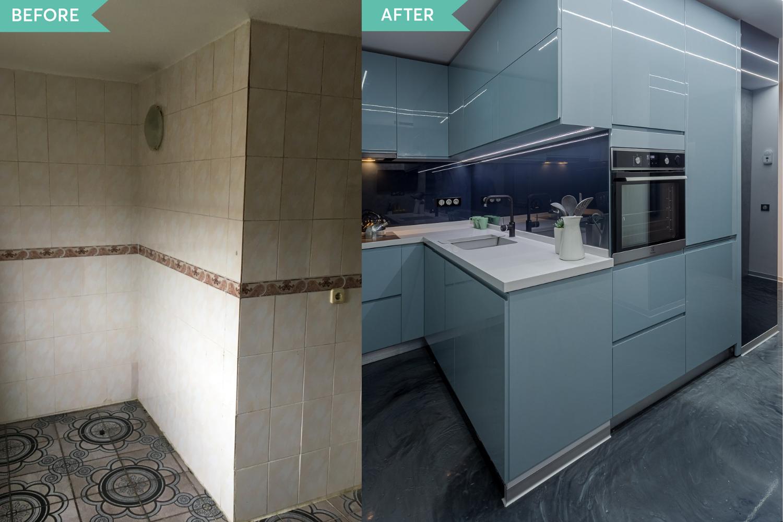 Renovare apartament Vitan arh. Alexandru Bucur Interiology - bucatarie pardoseala epoxidica mobilier bleu (3)