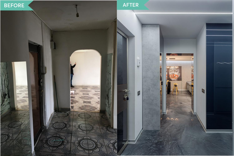 Renovare apartament Vitan arh. Alexandru Bucur Interiology - hol pardoseala epoxidica gri (1)