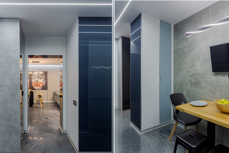 Renovare apartament Vitan arh. Alexandru Bucur Interiology - hol pardoseala epoxidica gri mobilier