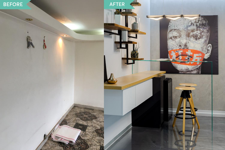 Renovare apartament Vitan arh. Alexandru Bucur Interiology - living pardoseala epoxidica gri
