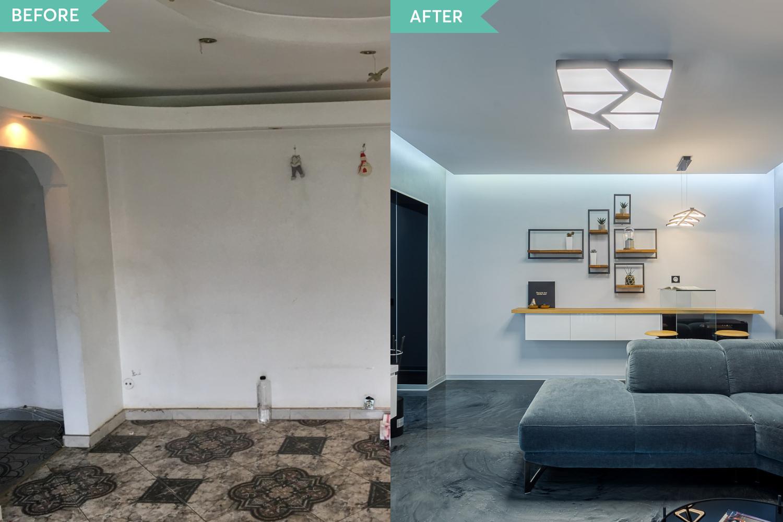Renovare apartament Vitan arh. Alexandru Bucur Interiology - living pardoseala epoxidica