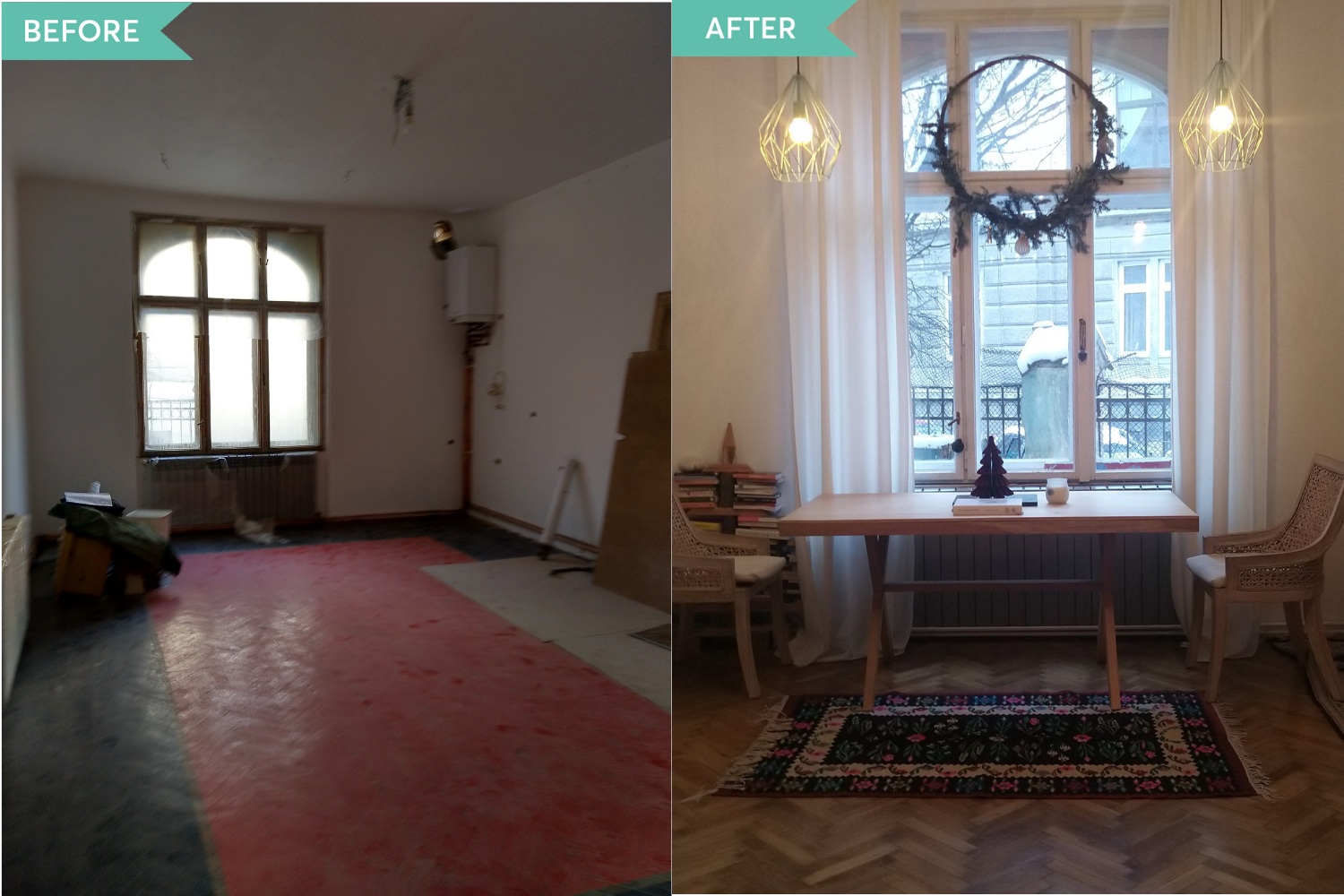Before and After living Oana Manole Brasov